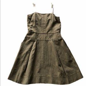 D&G Khaki Pleated Dress with Satin White Straps